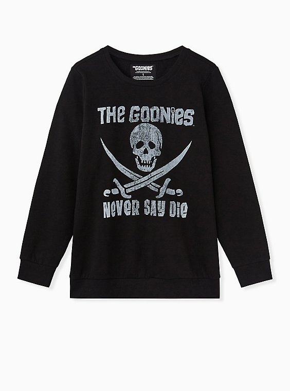 The Goonies Never Say Die Black Sweatshirt, DEEP BLACK, ls