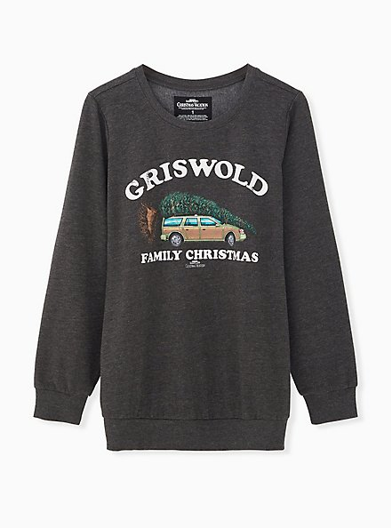 Plus Size National Lampoon's Griswold Family Christmas Charcoal Grey Sweatshirt, CHARCOAL  GREY, hi-res