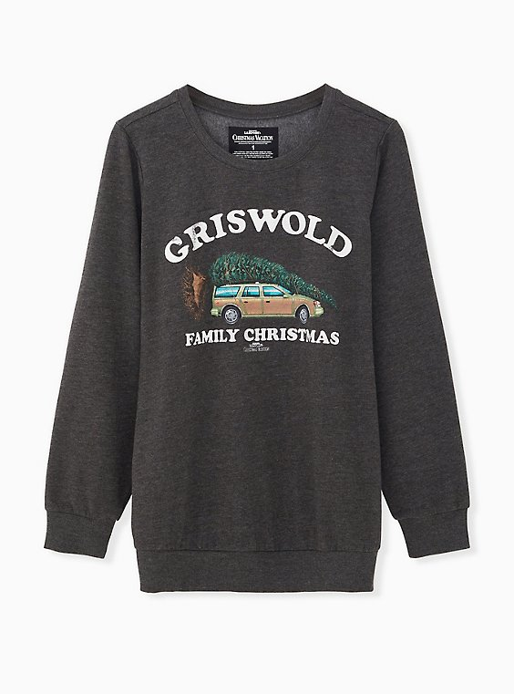 National Lampoon's Griswold Family Christmas Charcoal Grey Sweatshirt, CHARCOAL  GREY, ls
