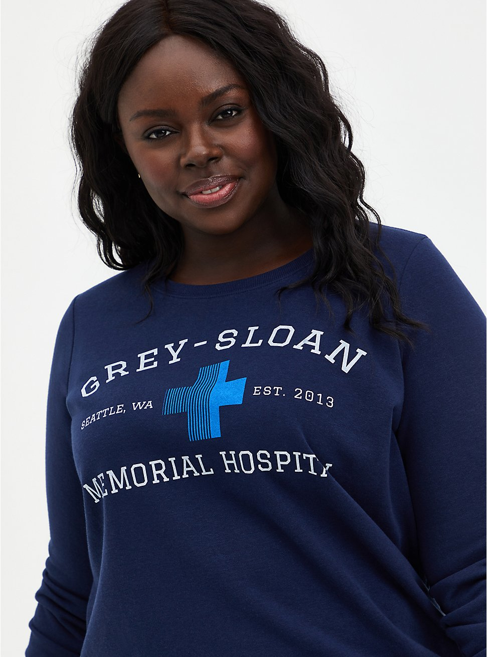 Grey's Anatomy Navy Crew Sweatshirt, PEACOAT, hi-res