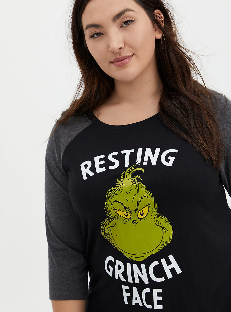 Plus Size Dr. Seuss' The Grinch Resting Face Classic Fit Raglan Tee - Black, DEEP BLACK, hi-res