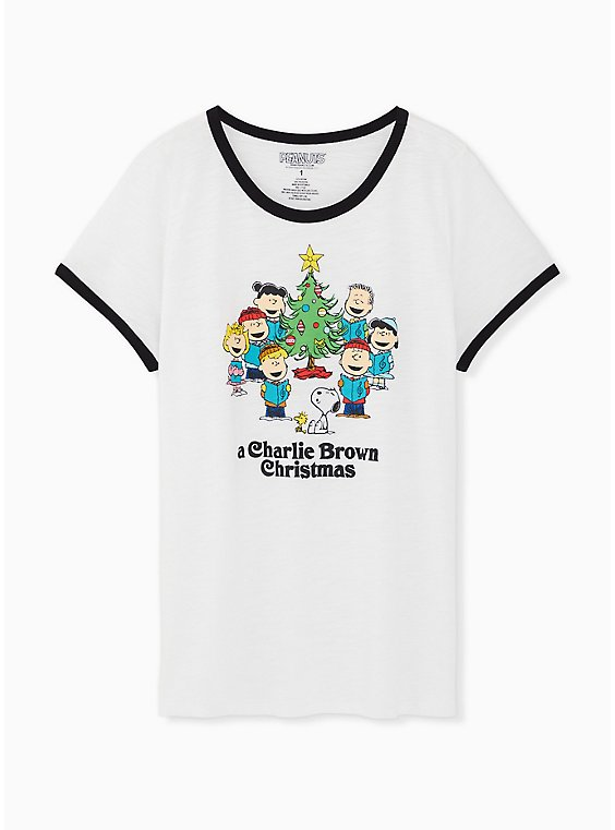 Peanuts Christmas White Classic Fit Ringer Tee, BRIGHT WHITE, hi-res