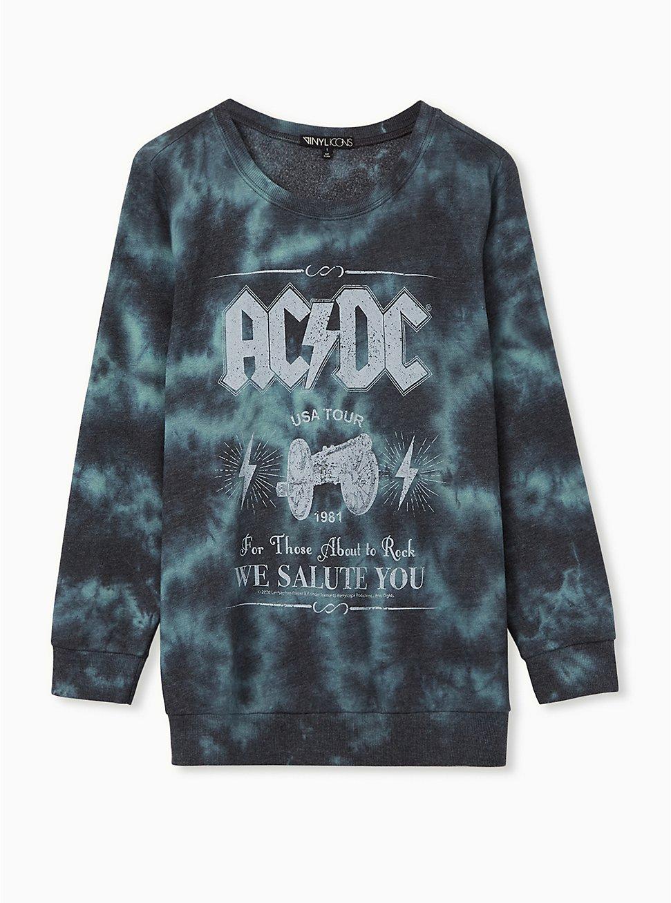 AC/DC Green and Black Tie-Dye Sweatshirt, GREEN, hi-res