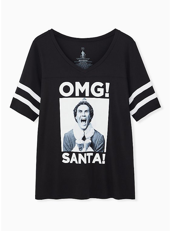 Elf OMG Santa Black Football Tee, , hi-res