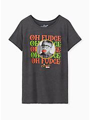 A Christmas Story Slim Fit Charcoal Grey Crew Tee, CHARCOAL  GREY, hi-res