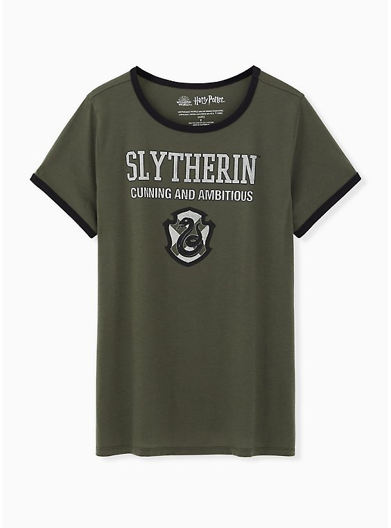 Harry Potter Slytherin Green Classic Fit Ringer Tee, , hi-res
