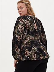 Plus Size Black Skull Floral Crepe Sweetheart Peplum Blouse , FLORAL - BLACK, alternate