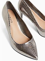 Pewter Grey Snakeskin Print Faux Leather Pointed Toe Pump (WW), PEWTER GREY, alternate
