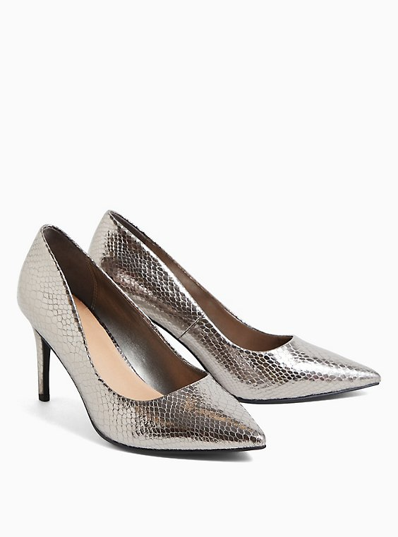 Pewter Grey Snakeskin Print Faux Leather Pointed Toe Pump (WW), PEWTER GREY, hi-res