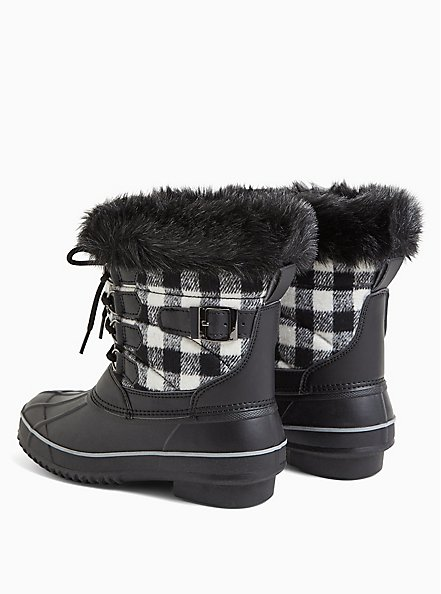 Black Plaid Fur Trimmed Lace-Up Water Resistant Duck Boot (WW), MULTI, alternate
