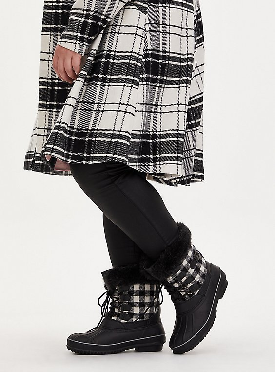 Black Plaid Fur Trimmed Lace-Up Water Resistant Duck Boot (WW), , hi-res