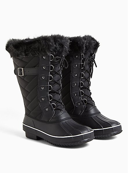Black Quilted Fur Trimmed Water Resistant Boot (WW), BLACK, alternate