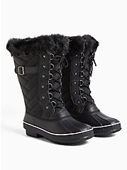 Plus Size Black Quilted Fur Trimmed Water Resistant Boot (WW), BLACK, alternate