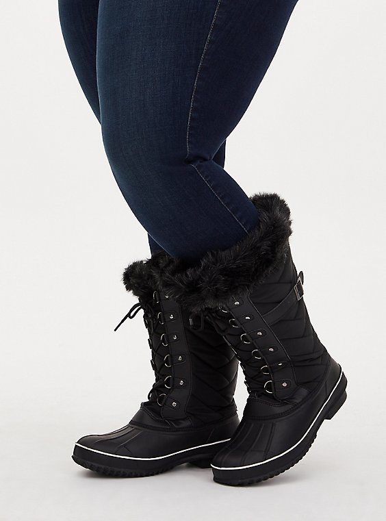 Plus Size Black Quilted Fur Trimmed Water Resistant Boot (WW), BLACK, hi-res