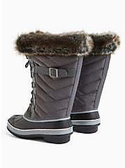 Grey Quilted Fur Trimmed Water Resistant Boot (WW), GREY, alternate