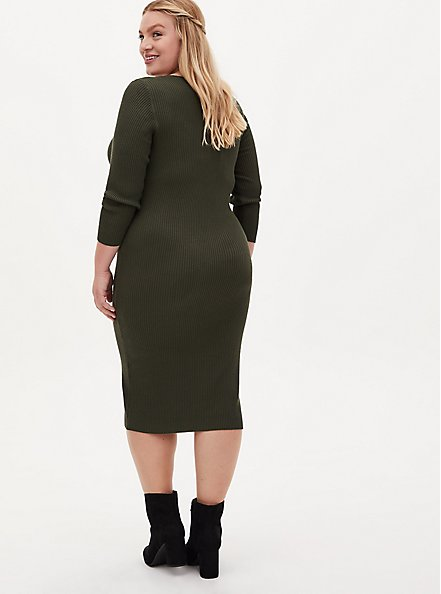 Olive Ribbed Button Front Bodycon Dress, DEEP DEPTHS, alternate