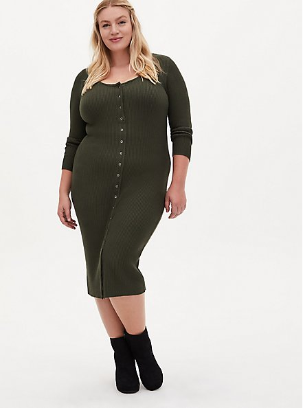 Olive Ribbed Button Front Bodycon Dress, DEEP DEPTHS, hi-res