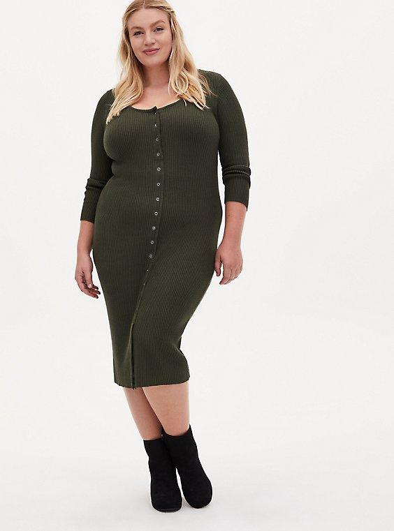Olive Green Rib Button Front Bodycon Midi Dress, , hi-res