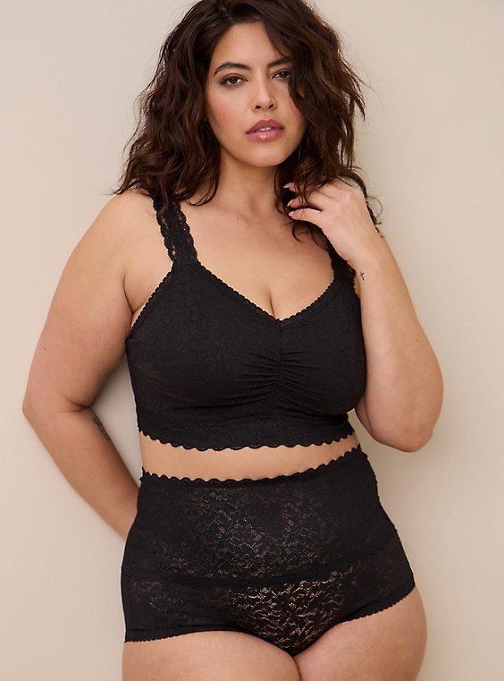 High Waist Brief Panty - 4-Way Stretch Lace Black, , hi-res