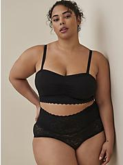 High Waist Brief Panty - 4-Way Stretch Lace Black, RICH BLACK, hi-res
