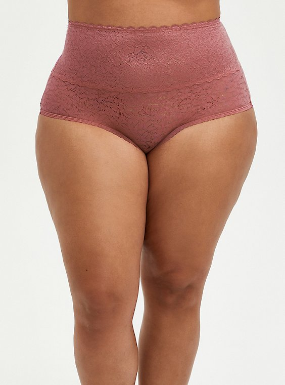 Pale Pink 4-Way Stretch Lace Brief Panty, ROSE DUST, hi-res