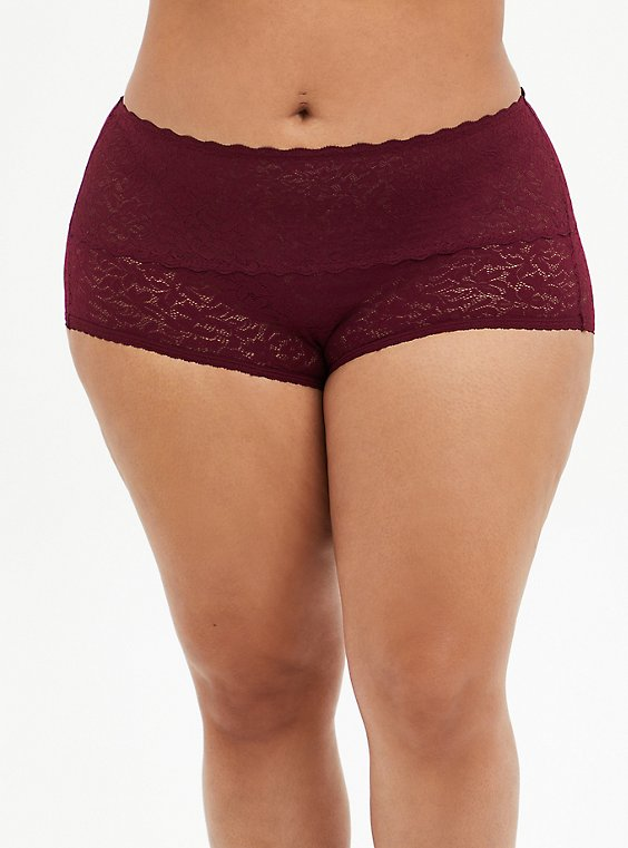 Burgundy Red 4-Way Stretch Lace Brief Panty, BURGUNDY, hi-res