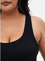 Black Rib Scoop Neck Seamless Bralette, RICH BLACK, alternate