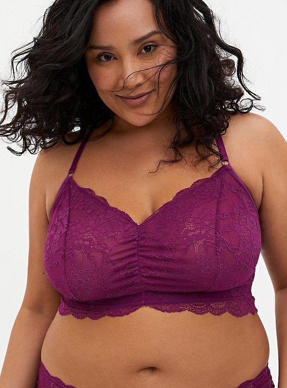 Plum Purple Lace Racerback Bralette, , hi-res