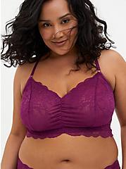 Plum Purple Lace Racerback Bralette, DEEP RUBY, hi-res