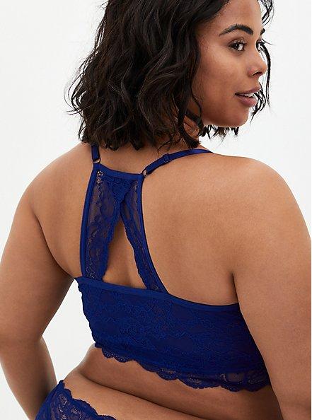 Sapphire Blue Lace Racerback Bralette, DEEP WATERS BLUE, alternate