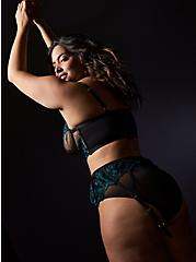 Black Mesh & Teal Embroidered Unlined Underwire Longline Bralette , REFLECTING POND, alternate