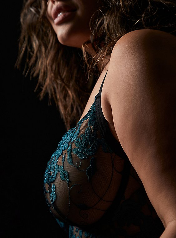 Black Mesh & Teal Embroidered Unlined Underwire Longline Bralette , , hi-res