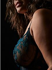 Black Mesh & Teal Embroidered Unlined Underwire Longline Bralette , REFLECTING POND, hi-res