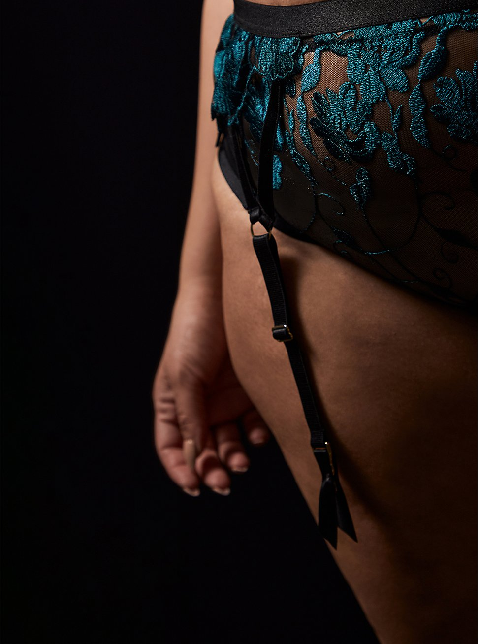 Black & Teal Embroidered Mesh Garter Belt, REFLECTING POND, hi-res