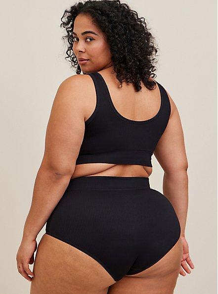 Black Rib Seamless Brief Panty, RICH BLACK, alternate
