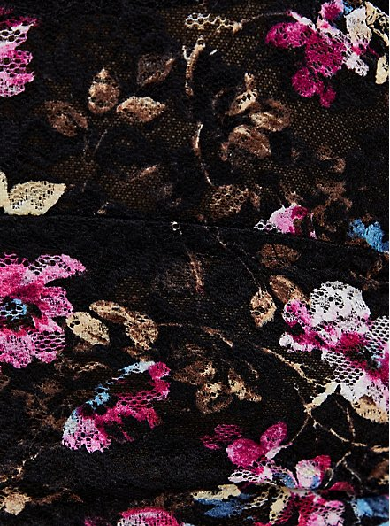 Black Floral Lace Cheeky Panty , RICH BLACK AND ROEBUCK BEIGE, alternate
