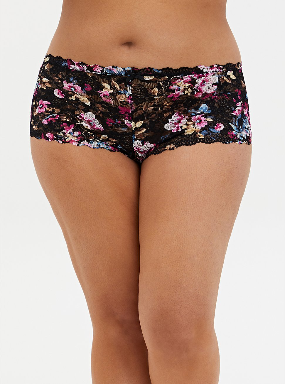 Black Floral Lace Cheeky Panty , RICH BLACK AND ROEBUCK BEIGE, hi-res