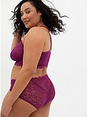 Plum Purple Mesh & Lace Hipster Panty, DEEP RUBY, alternate