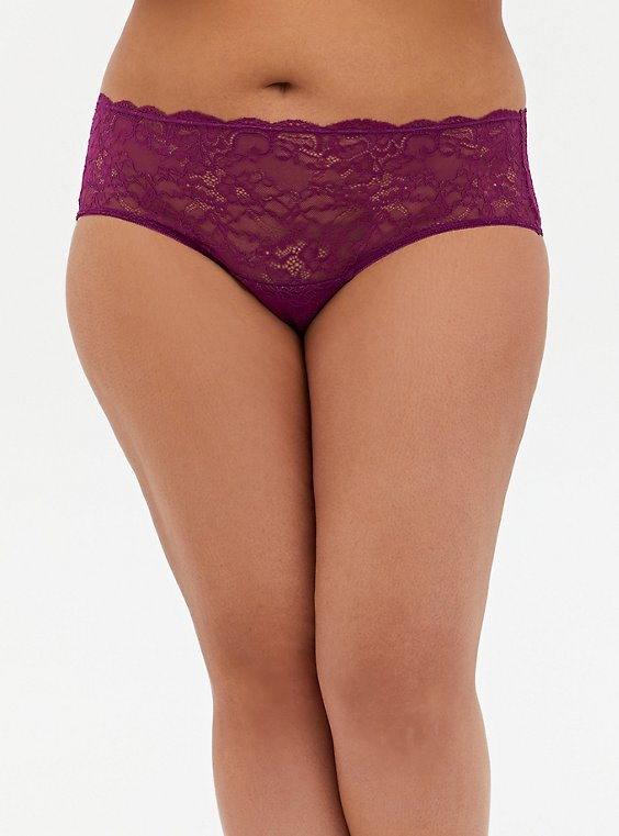 Plum Purple Mesh & Lace Hipster Panty, DEEP RUBY, hi-res