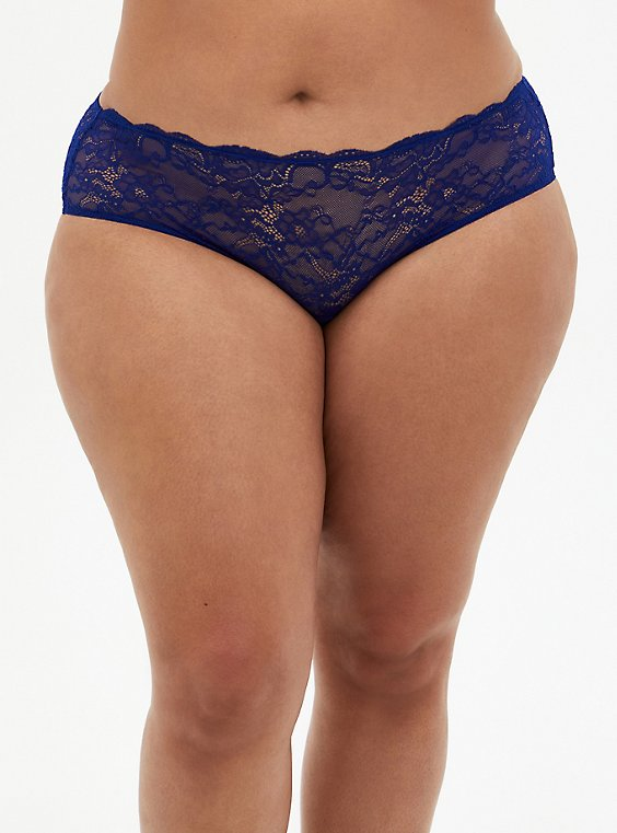 Sapphire Blue Mesh & Lace Hipster Panty, DEEP WATERS BLUE, hi-res