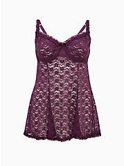 Dark Purple Sheer Lace Unlined Underwire Babydoll, PLUM PURPLE, hi-res