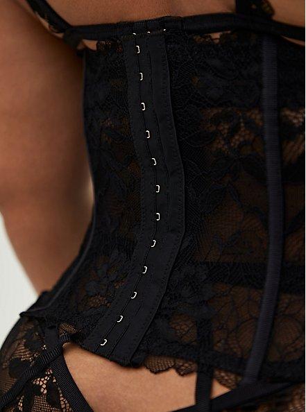 Black Chantilly Lace Waist Cincher, RICH BLACK, alternate