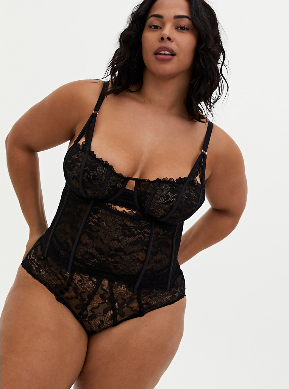 Black Chantilly Lace Waist Cincher, RICH BLACK, hi-res