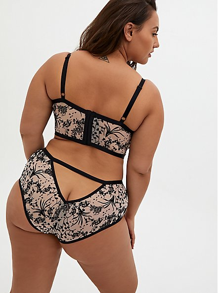 Pale Pink Mesh & Black Floral Open Back Cheeky Panty, REFLECTING POND, alternate
