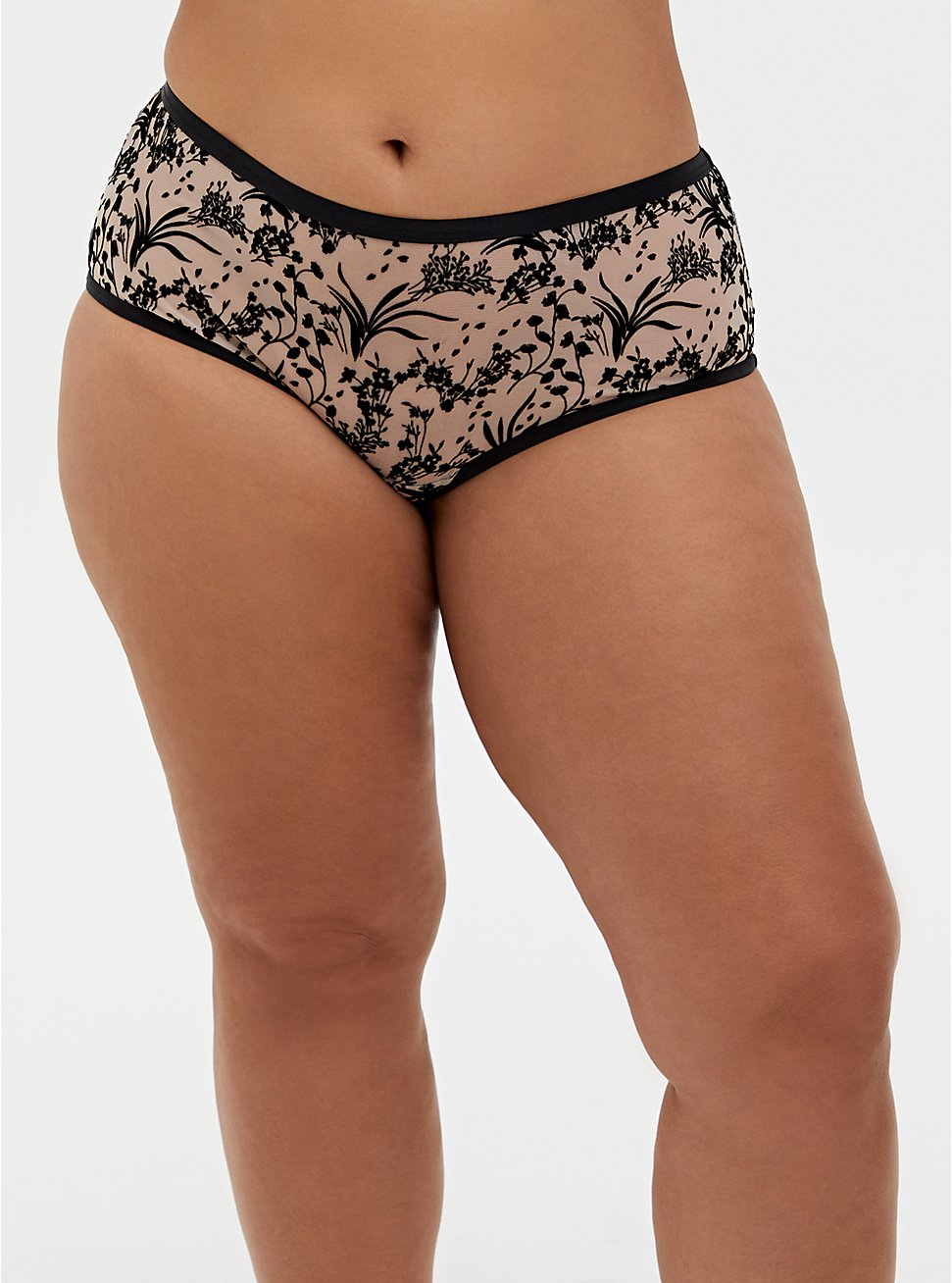 Pale Pink Mesh & Black Floral Open Back Cheeky Panty, REFLECTING POND, hi-res