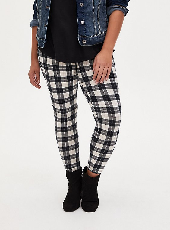 Premium Leggings - Buffalo Plaid Black & White  , , hi-res