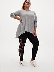 Premium Legging - Floral Garden Shimmer Black , BLACK, hi-res