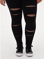 Maternity Legging - Slashed Fishnet Underlay Black, BLACK, alternate