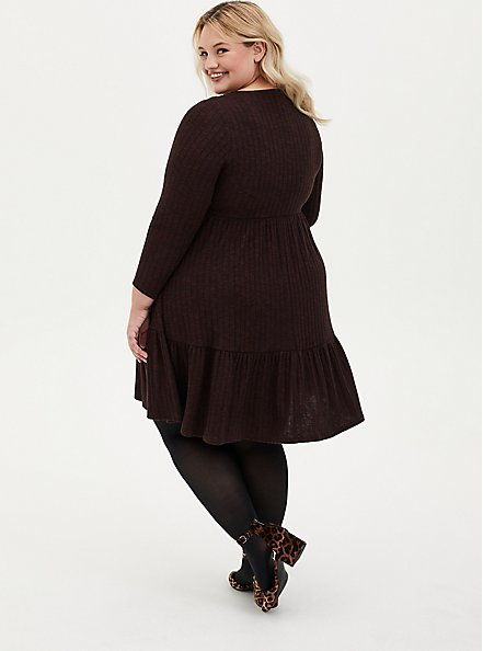Super Soft Plush Brown Ribbed Babydoll Dress, DEEP MAHOGANY, alternate