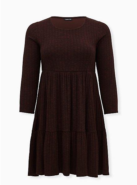 Super Soft Plush Brown Ribbed Babydoll Dress, DEEP MAHOGANY, hi-res